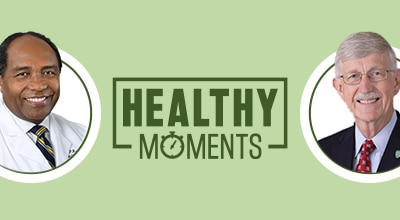 Healthy Moments banner of NIDDK's 70th anniversary with NIDDK director Dr. Rodgers and NIH Director Dr. Collins.