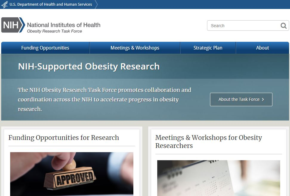 NIH Obesity Research page screen cap