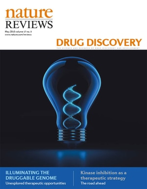 Photo of Cover of Nature Review Drug Discovery, May 2018