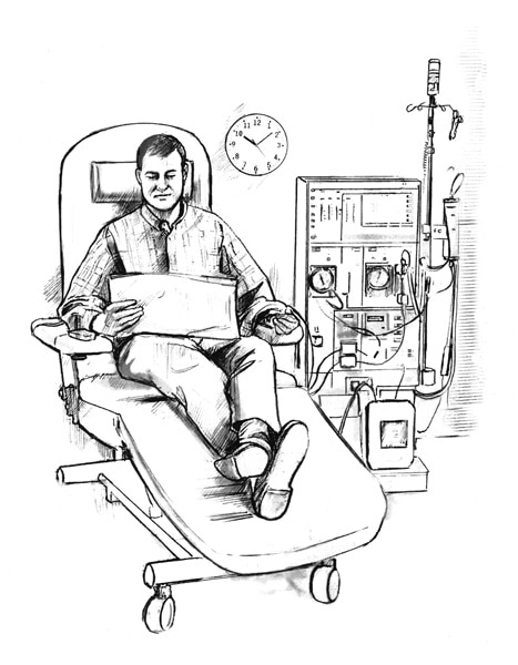 Drawing of a man receiving hemodialysis treatment in a clinic.