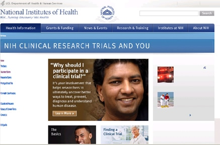 Screen shot of the Clinical Trial website