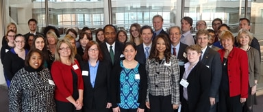 Group photo of Bipartisan Congressional staffs with NIDDK staff, researchers and grantees
