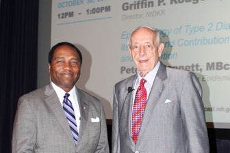 Photo of NIDDK Director Griffin P. Rodgers and Dr. Peter Bennett (r)