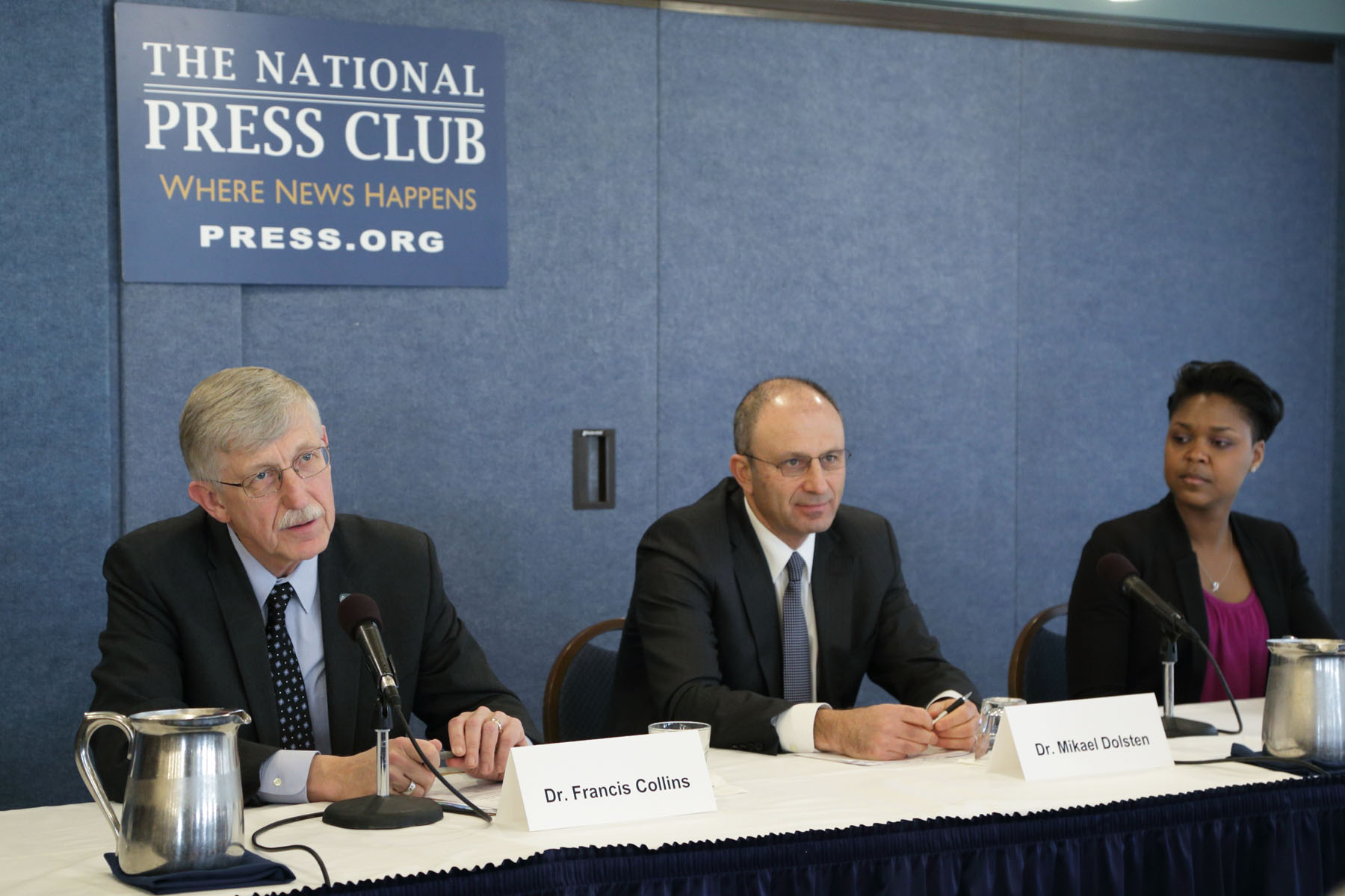 NIH Director Dr. Francis Collins; Dr. Mikael Dolsten, president of Worldwide Research and Development at Pfizer; and Shanelle Gabriel, performance artist and lupus patient, discuss the Accelerating Medicines Partnership