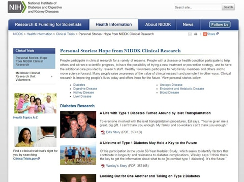 Image of personal stories web page