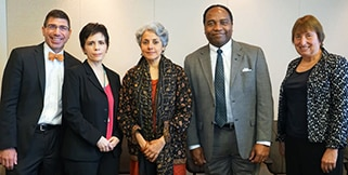 Photo(from left to right) of Dr. Andrew Bremer, Dr. Eleanor Hoff, Dr. Soumya Swaminathan, Dr. Griffin Rodgers, and Dr. Judith Fradkin