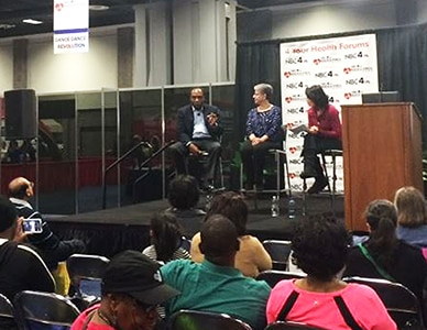 Photo of Dr. Griffen P. Rodgers, Dr. Sue Yanovski discussing diabetes and weight management at 2016 NBC4 Expo in Washington, D.C.