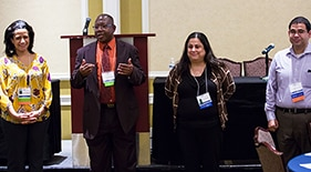 Drs. Heather Tarelton, Lincoln Edwards, Sylvia Rosas and Luis Cubano, current and past leaders of the NMRI, stand at the 2016 annual meeting.