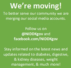 Informational 'We're Moving' graphic representing NIDDK upgrading it's website to fit handheld devices