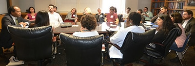 Dr. Griffin P. Rodgers meets with faculty at the Washington University School of Medicine