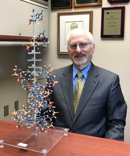 Dr. Kenneth A. Jacobson with molecular model