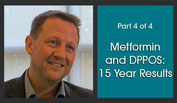 On the left half of the image is a picture of the subject matter expert, Dr. Kieren Mather. To the right of this picture is a dark turquoise background with white text over it that says, 'Part 4 of 4,' in a smaller font, above the title, 'Metformin and DPPOS: 15 Year Results,' in a larger font.