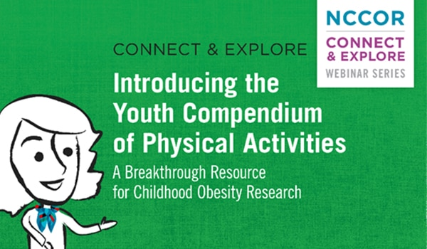 Cartoon woman announcing the title of a webinar, 'Introducing the Youth Compendium of Physical Activities'
