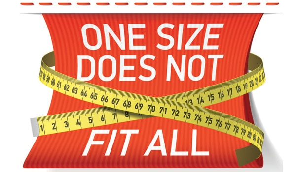 Infographic demonstrating that one size does not fit all with measuring tape.