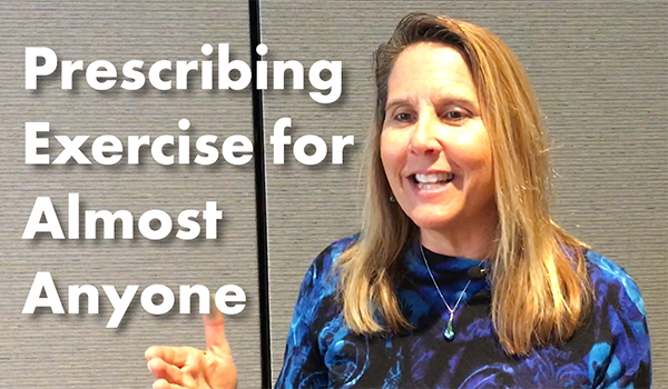 "Image of subject matter expert, Sheri Colberg, PhD, smiling on the right hand side with a gray background. On the Left hand side, on the same gray background is the title in large, bold text saying, ""Prescribing Exercise for Almost Anyone."""