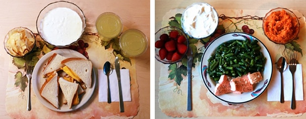Ultra-processed lunch (left), unprocessed lunch (right)