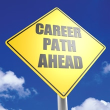 "Sign with the words ""Career Path Ahead"""