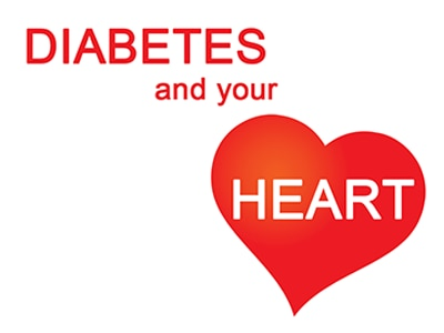 "The words ""Diabetes and your heart."" The word ""heart"" is inside a heart shape."