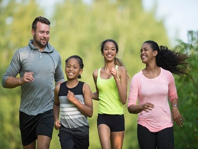 Healthy family running