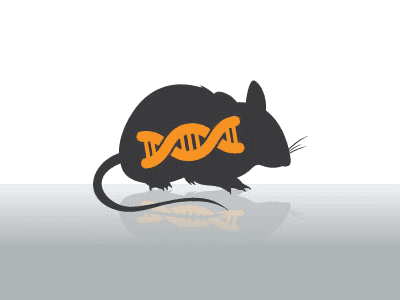 A mouse with a DNA Helix symbol