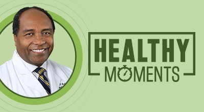 The Healthy Moments logo and Dr. Griffin Rodgers