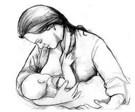 Drawing of a woman breastfeeding her baby.