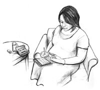 Drawing of a pregnant woman sitting and recording her blood glucose level in a record book. A blood glucose meter and a bottle of medicine are on the table.