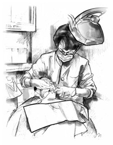 Drawing of a female dentist examining a male patient's teeth.