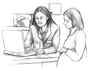 Drawing of a female doctor talking with a pregnant patient as they look at a computer.