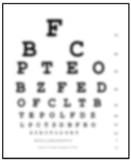 Drawing of an eye chart used for an eye exam. The chart appears to be blurry.