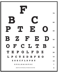 Drawing of an eye chart used for an eye exam.