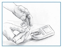 Drawing of a glucose meter and a person using a lancing device to obtain a blood sample from a fingertip for testing with the meter.