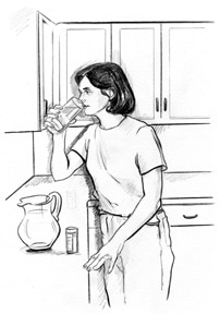 Drawing of a woman taking her medicine with a glass of water.