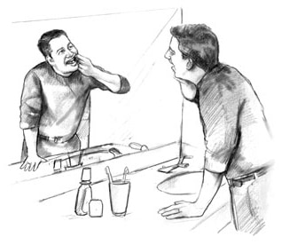Drawing of a man checking the inside of his mouth in the bathroom mirror for signs of problems from diabetes.