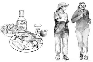 Drawing of a plate with fish, a bowl of salad, light salad dressing, fat-free yogurt, and an apple next a drawing of two women walking for physical activity.