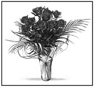 Drawing of a vase of roses as seen by someone with normal vision.
