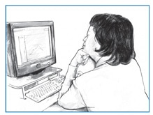 Drawing of a woman sitting at a desk and looking at a chart of glucose levels on a computer screen.