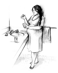 Drawing of a pregnant woman standing near her bathroom sink and testing her ketone levels. She is holding a cup of urine in one hand and a dipstick in the other.