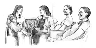 Drawing of a group of pregnant women sitting and talking. One woman has her child in her lap.