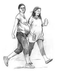 Drawing of two pregnant women walking for exercise and carrying water bottles.