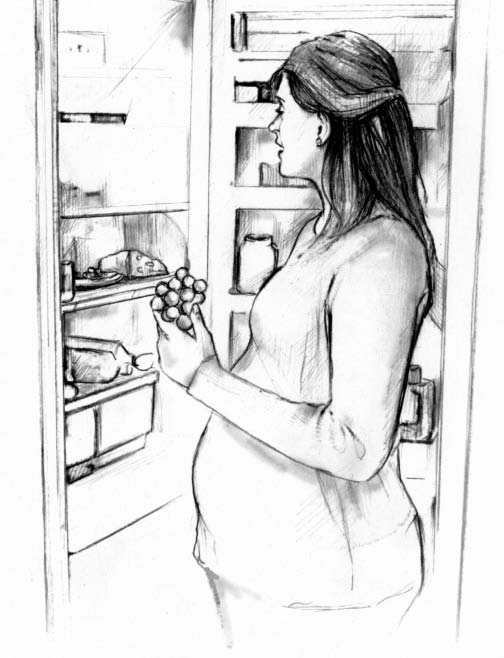 Drawing of a pregnant woman standing at her open refrigerator. She is holding grapes and looking inside the refrigerator at other healthy food.