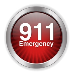 """Red button with """"911 Emergency"""""""