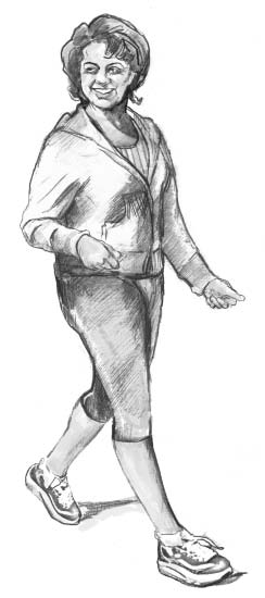 Drawing of a woman walking.