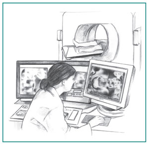 Drawing of a computerized tomography scanner with a health care professional looking on a computer screen as a patient lies inside the scanner.