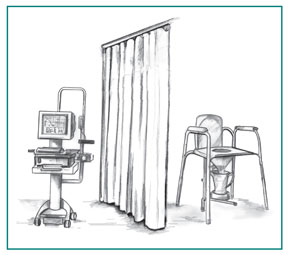Drawing of a computer that collects uroflowmetry data. A curtain separates the computer from a special toilet attached to a container for catching and measuring urine.