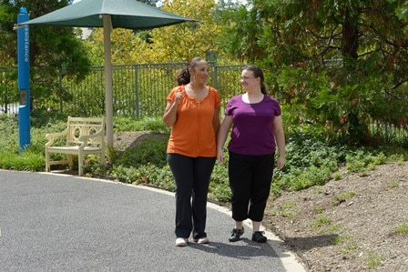 Two people walking for exercise.