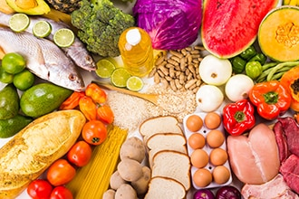 Healthy foods representing a well-balanced diet.