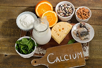 Foods that contain calcium, including milk and milk products, fish with soft bones, leafy green vegetables, oranges, almonds, and dried beans.