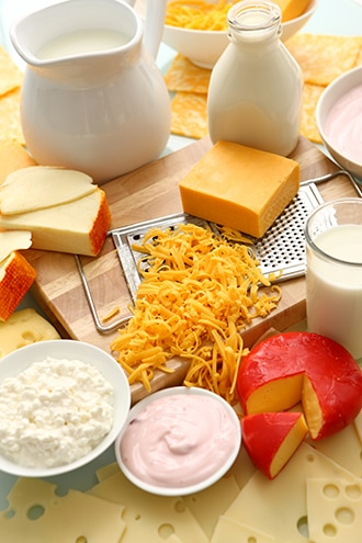 Milk and milk products, including yogurt, cottage cheese, and hard cheeses.