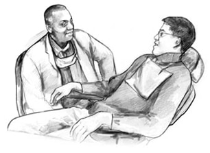 Drawing of a patient talking to his dentist.